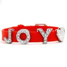 Fashion Design Red Silicone Wristband With Joy Rhinestone Slide Charms Bracelet Bangle For Women Scb050
