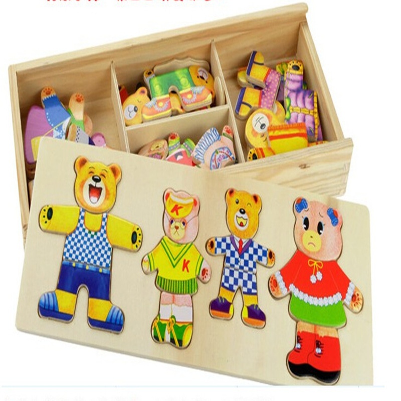 Cubs four games RB68 wooden clothes clutch dress paired quality early childhood jigsaw puzzle toys