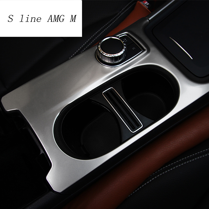KIMISS Carbon Fiber Car Water Cup Holder Sticker Trim for CLA GLA A Class Classic Style