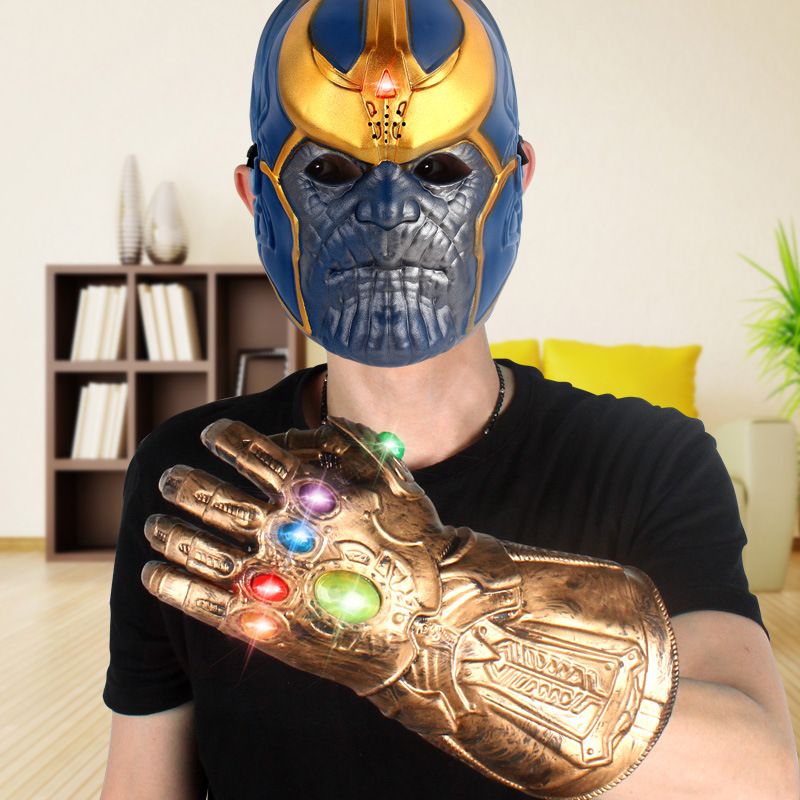 Infinity Gauntlet Gloves Cosplay Movie Avengers Latex Mask Prop Set Halloween Led Voice Avengers 4 Thanos Glove Masks in Party Masks from Home Garden