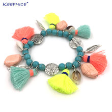 Новые богемные пляжные браслеты для женщин красочные с кисточками