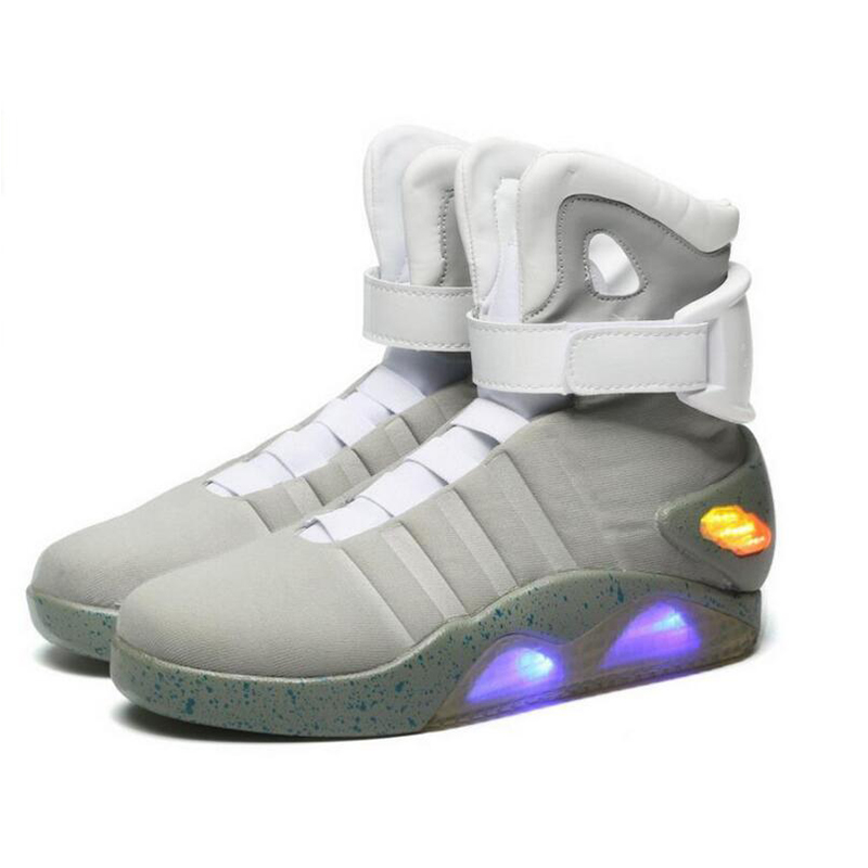 "Men Basketball Shoes Led Light Shoes Men Sneakers ""Back To Future"" Led Glowing Shoes For Men COsplay High Top Shoes(China)"
