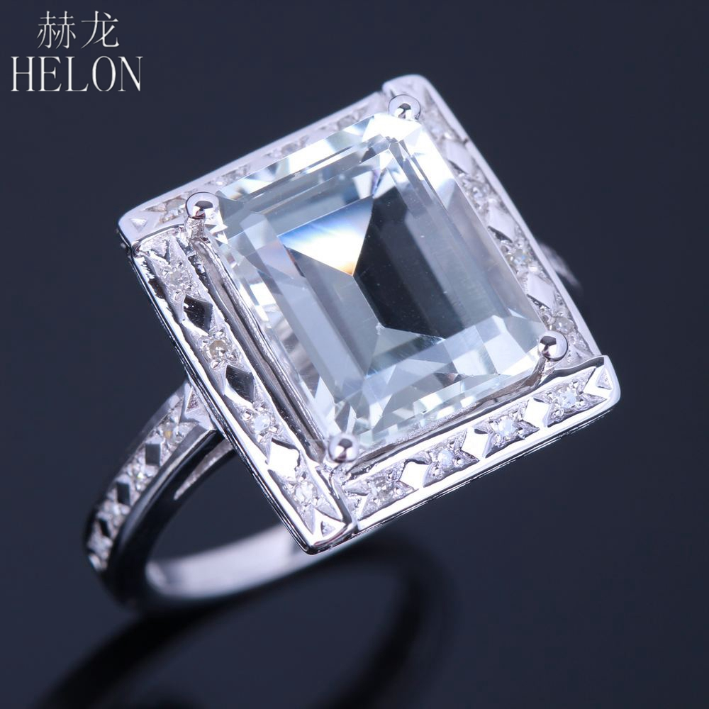 HELON Vintage Art Deco Sterling Silver 925 Cushion 11x9mm Genuine White Topaz Natural Diamonds Jewelry Engagement Wedding Ring серьги art silver art silver ar004dwzmh30