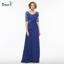 Dressv темно-Королевский синий v шеи линия мать невесты платье Половина рукава Длина пола Бисероплетение длинное Мать вечернее платье на заказ