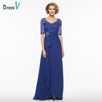 Dressv dark royal blue v neck a line mother of bride dress half sleeves floor length beading long mother evening gown custom