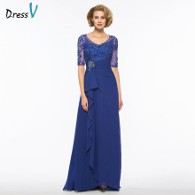 Dressv dark royal blue v neck a line mother of bride