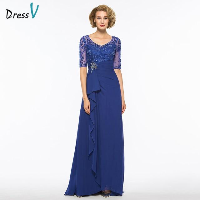 51511dcef007 Dressv dark royal blue v neck a line mother of bride dress half sleeves  floor length beading long mother evening gown custom