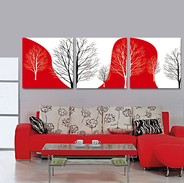 3 Pieces Canvas Wall Art Black White Red Abstract Tree Canvas ...