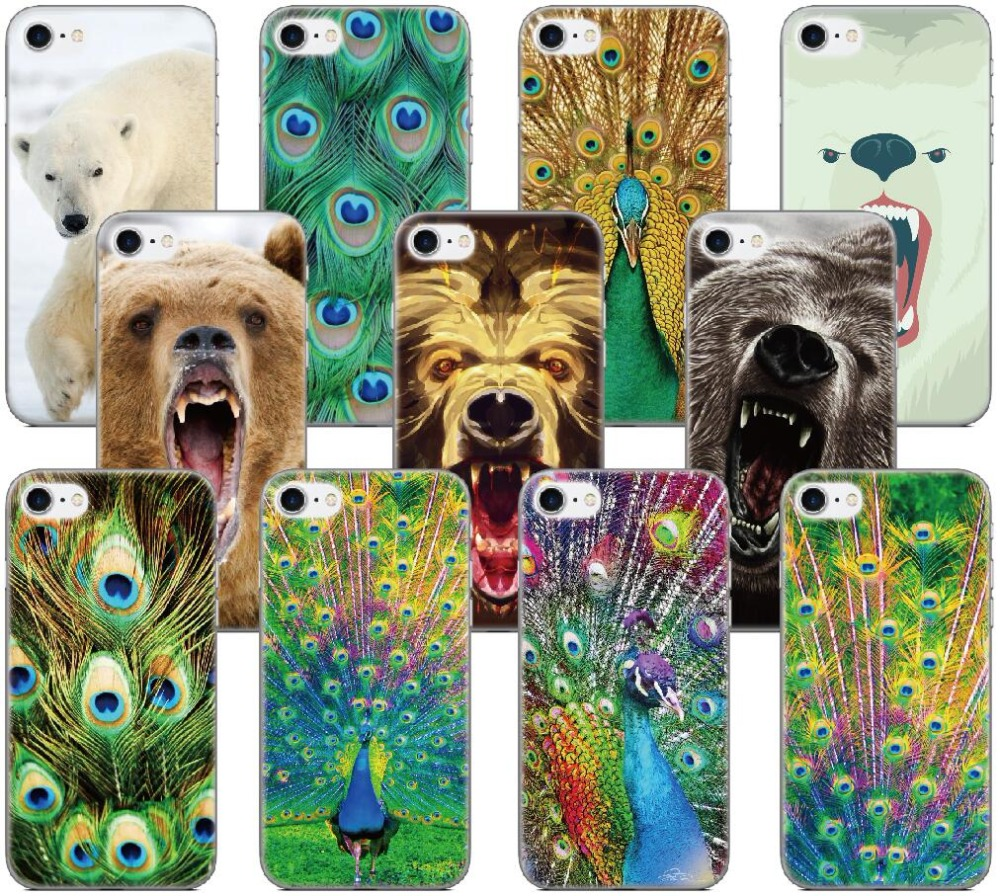 Polar Bear Peacock Shell Cover For iphone 10 X 4 4S 5 5S SE 5C 6 6S 7 8 Plus For iPod Touch 5 6 Phone Case Coque Fundas Bumper