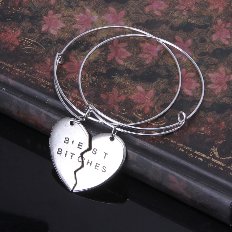 Luxurious & Affordable 2PCS Best Friend Fucking Bitches Half Broken Heart Charm Bracelet Women Bangles Set