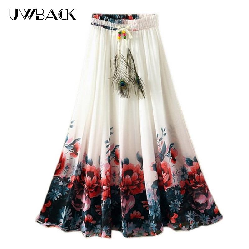 Uwback Maxi Chiffon Skirts Women 2018 New Summer Women Flowers Printed Long Skirt Floral Bohemian Slim Beach Saias Mujer EB512