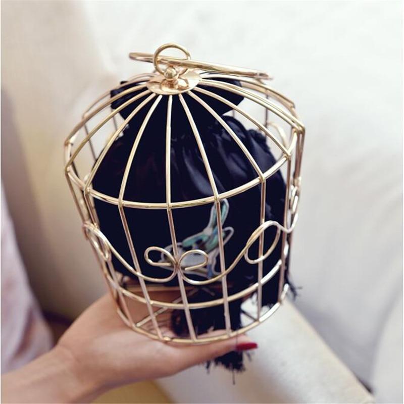 ФОТО NEW Design Women's Birdcage Evening Bag Clutch Metal Frame Embroidery Bucket Bird Cage Mini Bag Purse Women Gold Tassel Handbag