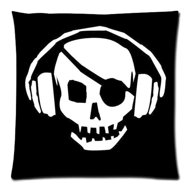 dj skull throw pillow cover decorative cotton linen pillow slip diy cushion case home sofa car decor 45x45cm