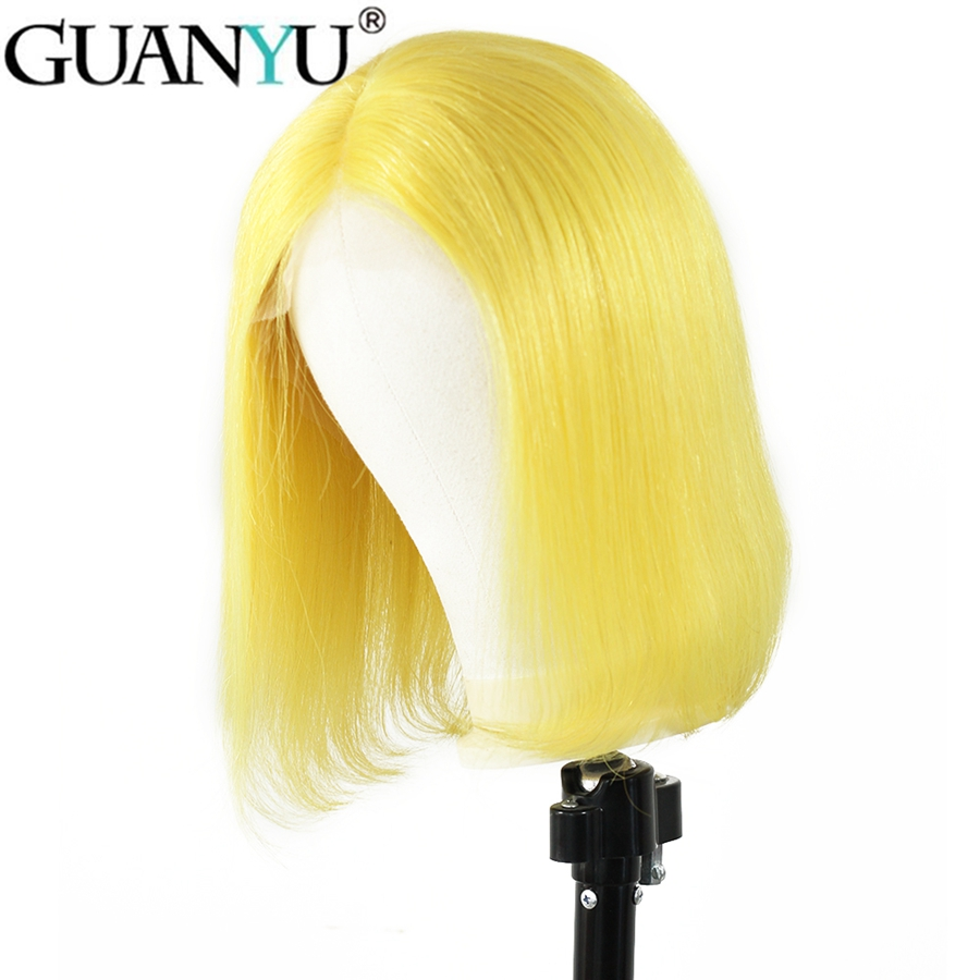 Short Bob Yellow 13*4 Lace Front Human Hair Wig 150% Density Brazilian Remy Hair Bob Glueless Free Part Lace Front Wig For Women