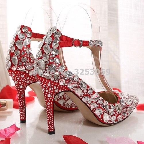 Bling Bling Kristall Frauen Hochzeit Schuhe Spitz Super Stiletto High Heel Sandalen T bar Abdeckung Ferse Schnalle pumpen - 3