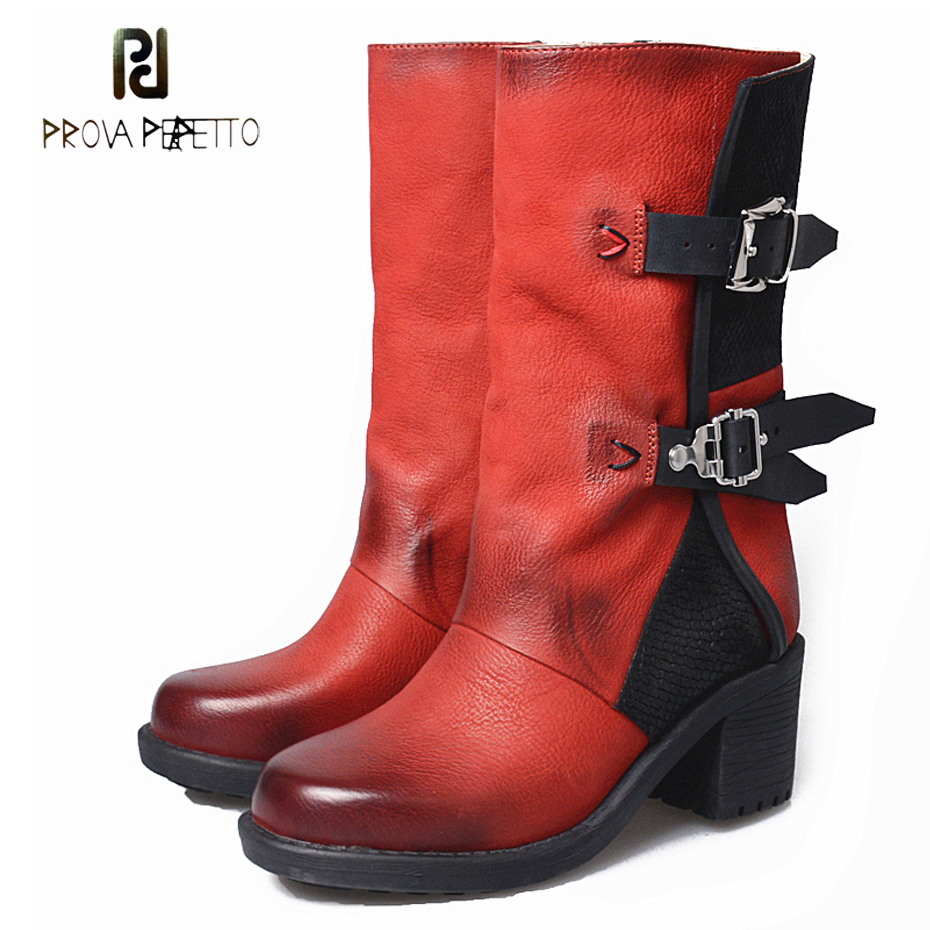 Prova Perfetto do old genuine leather square toe martin boots women winter shoes buckle chunky heel short boots high quality prova perfetto fashion round toe low heel mid calf boots feminino buckle belt thick bottom genuine leather women s martin boots