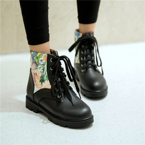 PXELENA New Woman Round Toe Cuban Low Heel Ankle Boots Shoes Lace Floral Casual Comfort Collegiate Plus Size - internation Store store