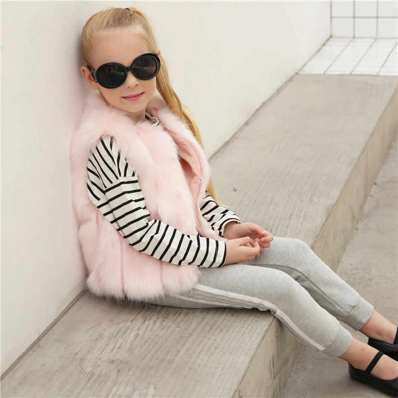 LANSHIFEI/стильный меховой жилет для маленьких девочек зимняя теплая одежда для маленьких девочек меховой жилет из искусственного меха плотное пальто Верхняя одежда От 1 до 6 лет меховая жилетка