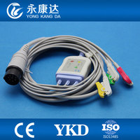 Nihon kohden OEC 6120A 3lead Ecg cable and 3leadwires with grabber/IEC 8 pin