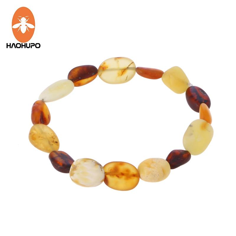 Exclusive Baltic amber bracelet multicolor natural handmade