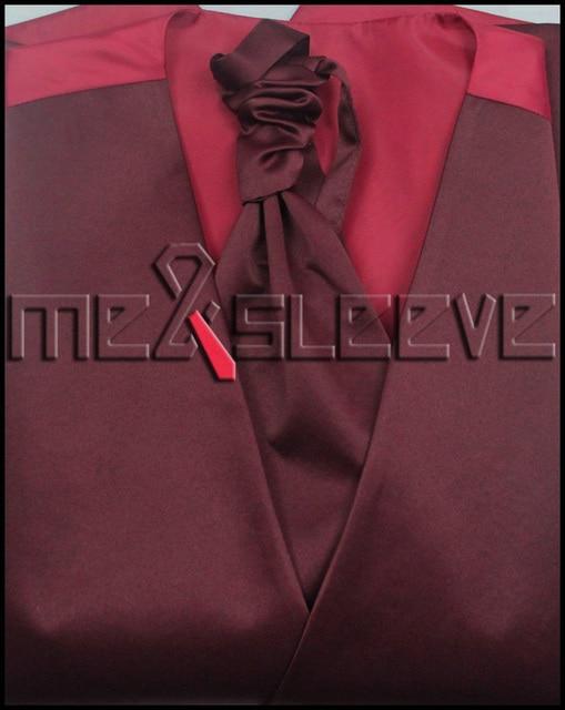 Горячая продажа бесплатная доставка обычная бургундия платья назначения (жилет + ascot галстук + запонки + платок)