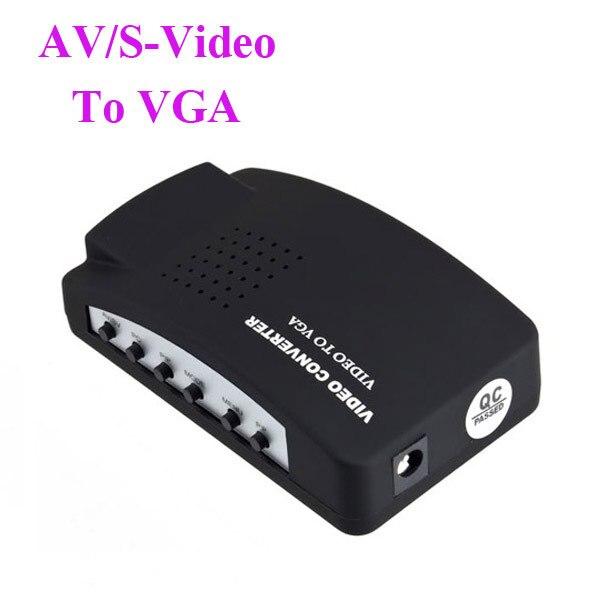 TV AV CCTV DVR Composite RCA S-Video to VGA Monitor PC Adapter Converter