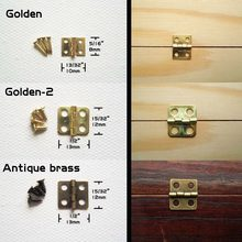 12pcs Mini Golden Antique Brass Jewelry Chest Gift Wine Music Box Wood Dollhouse Cabinet Door Hinge(China)