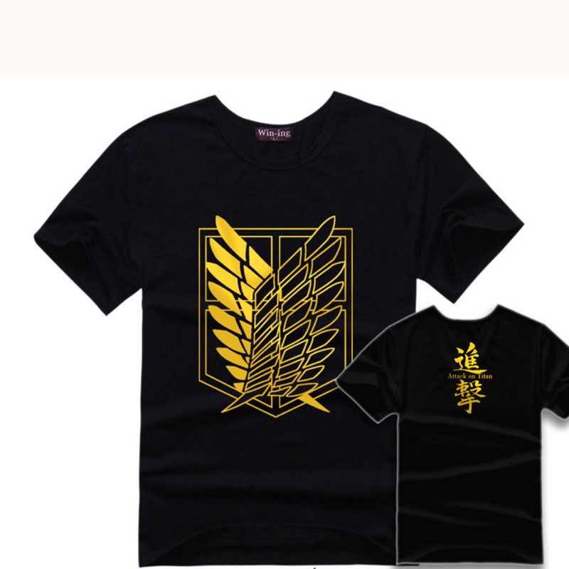 Hot Sale Anime Attack On Titan Survey Corps T Shirt Short Sleeve T-shirt Cosplay Clothes Lover Cotton Casual Costume