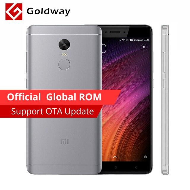 """Оригинальный Xiaomi Redmi Note 4x4 ГБ Оперативная память 64 ГБ Встроенная память Мобильный телефон MTK helio X20 Дека Core 5.5 """"1920x1080 4100 мАч Miui 8 отпечатков пальцев ID"""