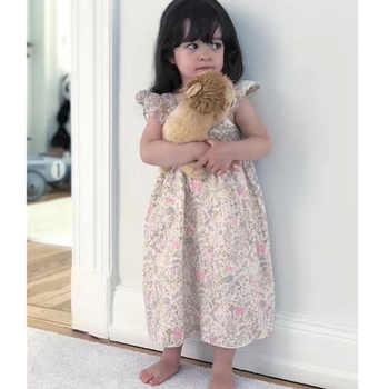 Ragazze Abito Senza Maniche Bambino di Estate Delle Ragazze Abiti Motivo Floreale Delle Increspature Lungo Lunghezza Del Vestito Boutique Per Bambini Costume