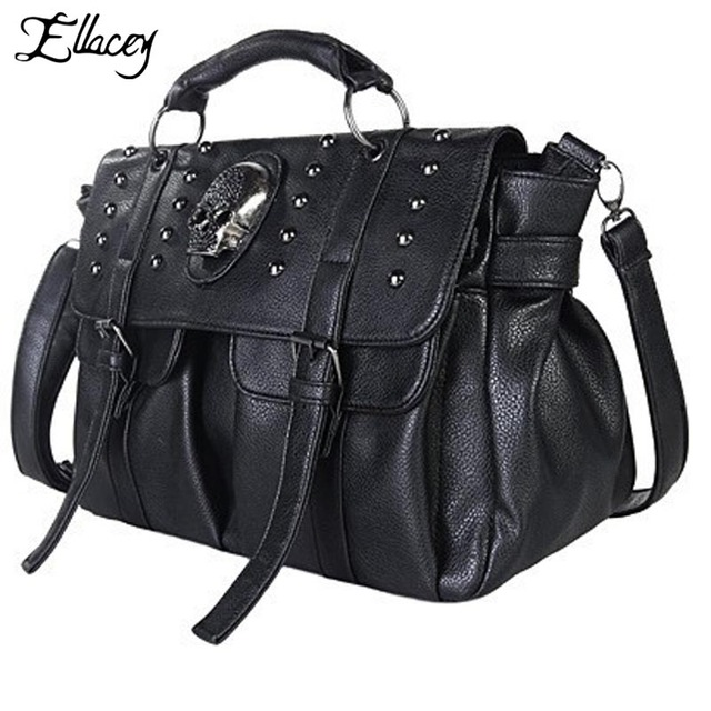 New 2017 Motorcycle Bag Skull Women Messenger Bags City Punk Rivets Handbags Large Satchels Crossbody Fashion Shoulder Bag Totes