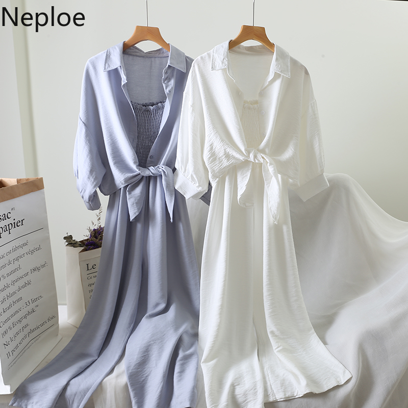 Neploe 2019 Summer Women 2 Sets Loose Shirt Blouse+ Cotton Linen Sling Strentch Slim Waist Long Playsuits Two-piece Set 52546