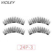 VICILEY Magnetic eyelashes with 3 magnets handmade 3D/6D magnet lashes natural false eyelashes comfortable -24p-3(China)