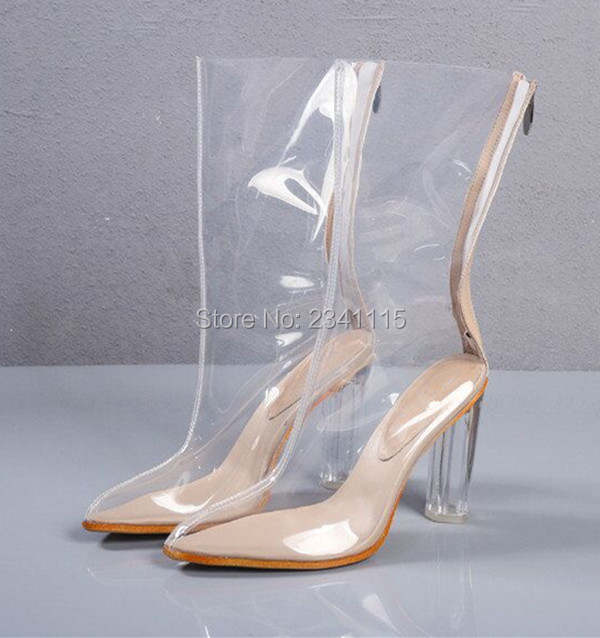 d27dfdd2935d3b 2018 Chaussure Femme Clear Heel Transparent Boots Plastic Women Mid-Calf  Booties Pointed Toe Perspex