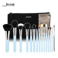 Jessup Brand 15pcs Beauty Makeup Brushes Set Brush Tool Blue And Silver T105 Cosmetics Bags Women