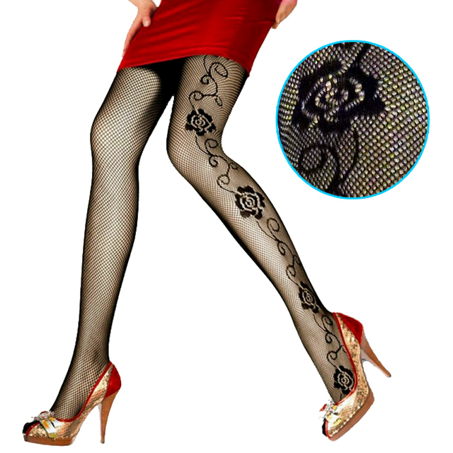 8ccc9c189 LIMSISNIW Women Fashion Sexy Fishnet Tights with Roses Pattern Decorate on  2 Sides Ladies Black Brief