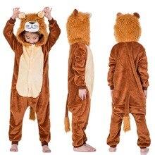 Кигуруми тигр лев с длинным рукавом капюшоном Onesie Дети фланель Кигуруми  для детей мальчиков зима цельный животных пижамы одеж. 37b7c7e68fff1