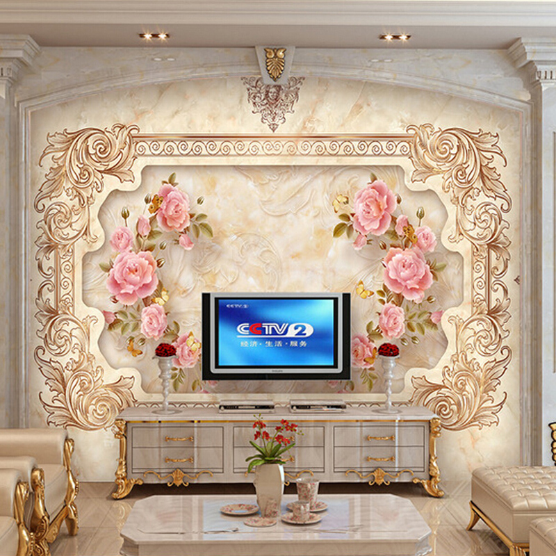 Custom 3D Wall Mural Wallpaper European Style 3D Stereo Relief Rose Flower Murals Wall Decorations Living Room Bedroom Wallpaper