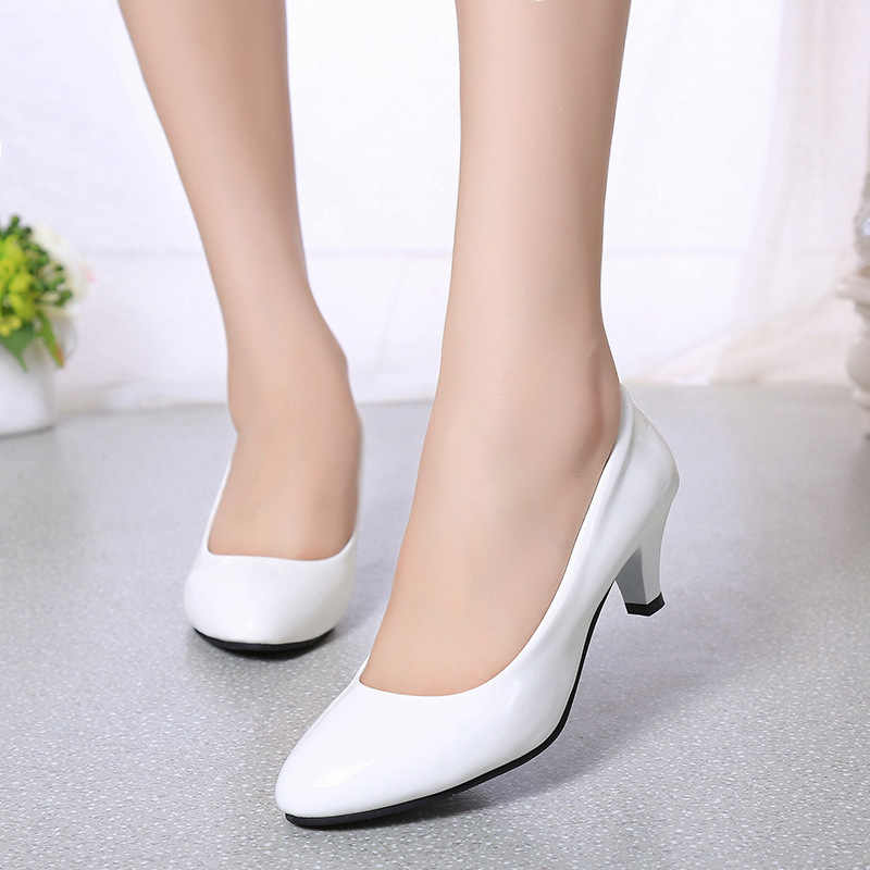 b583efe73a56 ... Four Seasons patent leather Low Heels Shoes Women Professional Shoes  Ladies Shallow Mouth Work Shoes Black ...