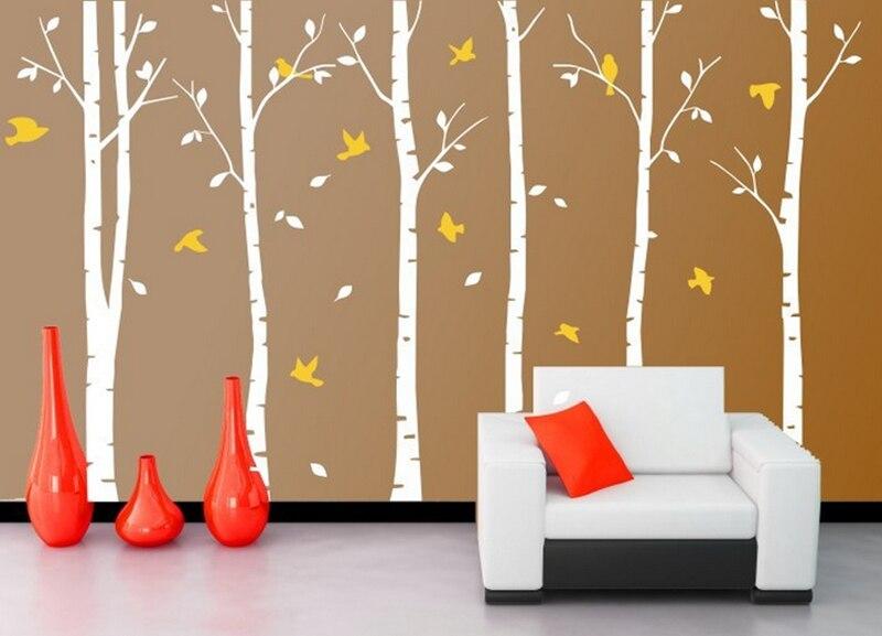 Mail gratuit 6 arbres et 11 oiseaux, arbre Sticker mural oiseau vinyle Stickers muraux Stickers muraux décor à la maison salon