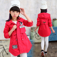 Spring Autumn Girls Trench Coat Red Pink Hooded Jacket Cotton Cardigan Kids Casacos School Teenager Clothing