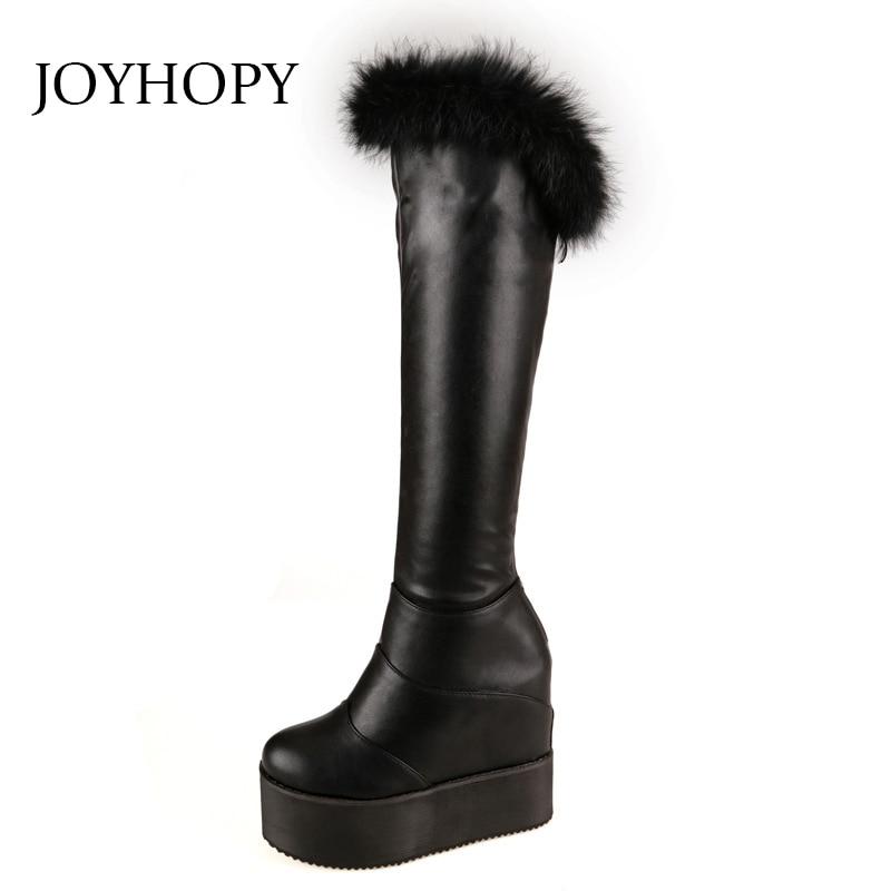 c72c17cd925adb 2018 Winter Fur Knee High Boots Women Flat Platform Height Increasing  Strecth Long Boots Woman Rabbit s