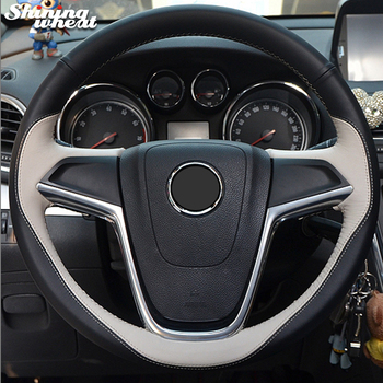 Hand Sew Beige Black Genuine Leather Car Steering Wheel Cover for Buick Excelle XT GT Encore Opel Mokka фото
