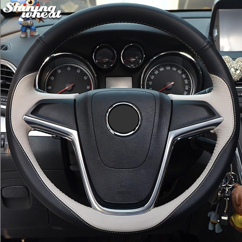 Shining wheat Beige Black Genuine Leather Car Steering Wheel Cover for Buick Excelle XT GT Encore Opel Mokka чехлы для автокресел boutique jushi gt xt 320