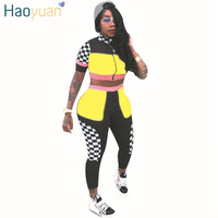 HAOYUAN Checkerboard Plaid Patchwork Two Piece Set Tops And Pants Suits Casual Summer Outfits Sweatsuits Tracksuit
