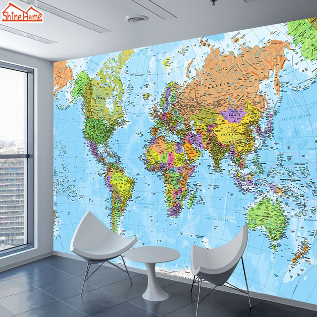 Modern World Map Wall Decal 4