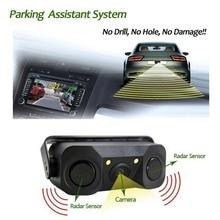 Car Rear View Camera 170 Degree 3 In 1 Night Vision Reversing Parking Sensor Waterproof Rear Camera Vehicle Camera цена