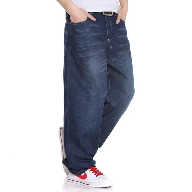 Plus Size Baggy Hip Hop Jeans Men Loose Straight Jeans Dance Skate Board Jeans Size 38 40 42 44 46