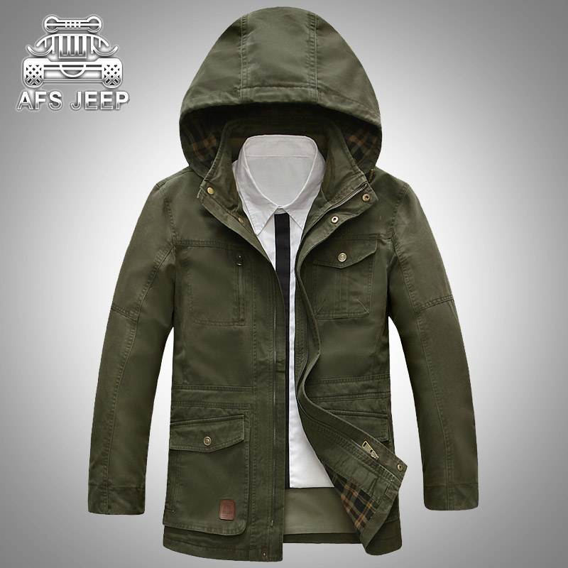 Homme Hooded Men Jacket Loose Plus Size M-5XL Autumn Winter New 2018 Coats Brand AFS JEEP Mens Clothing Casual Cargo Military