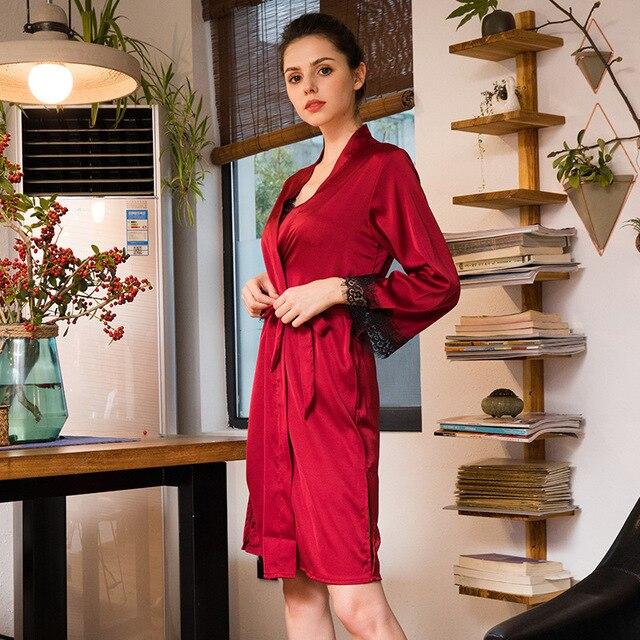 Chiffon Robe Sets 2018 Summer Faux Silk Women\'s Bath Robe Lace ...